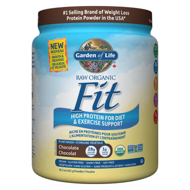 Container of Garden of Life Raw Organic Fit Protein Powder Chocolate Flavour 461 Grams