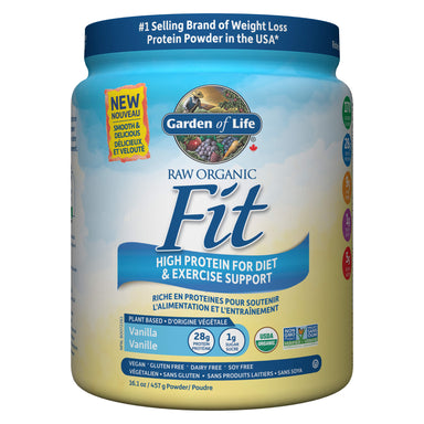 Container of Garden of Life Raw Organic Fit Protein Powder Vanilla Flavour 457 Grams