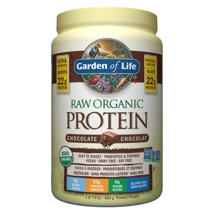 Container of Garden of Life Raw Organic Protein Chocolate Flavour 664 Grams