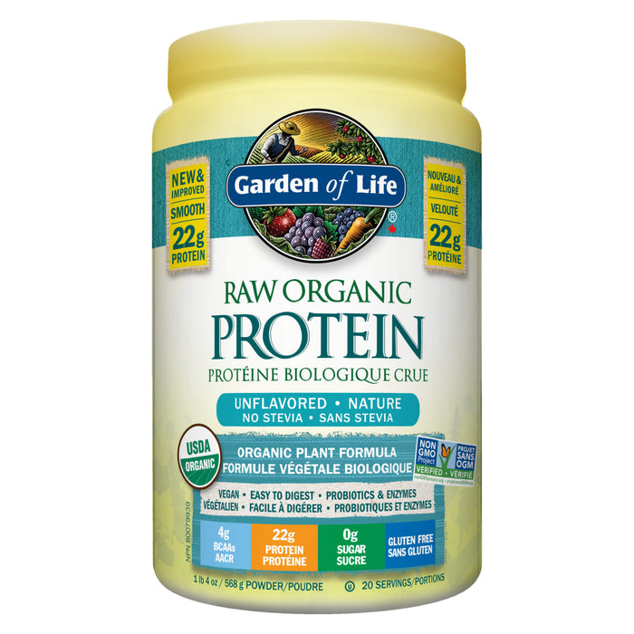 Container of Garden of Life Raw Organic Protein Unflavoured 568 Grams