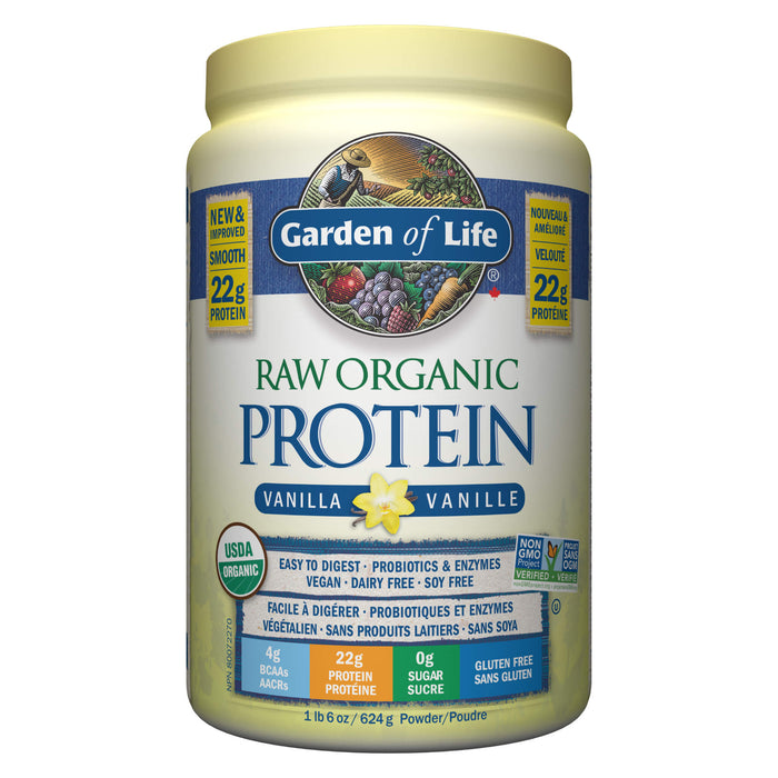 Container of Garden of Life Raw Organic Protein Vanilla Flavour 624 Grams