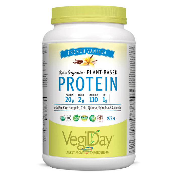 Container of French Vanilla Organic Plant-Based Protein 972 Grams