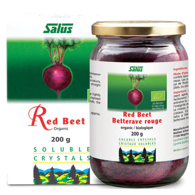 Box & Bottle of Organic Red Beet Crystals 200 Grams