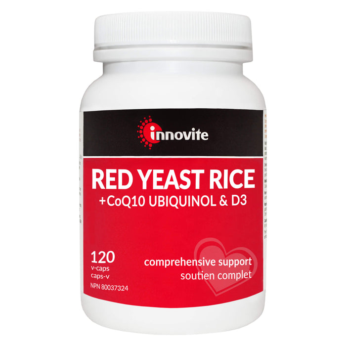 Bottle of Innovite Red Yeast Rice + CoQ10 Ubiquinol & Vitamin D3 120 V-Capsules | Optimum Health Vitamins, Canada