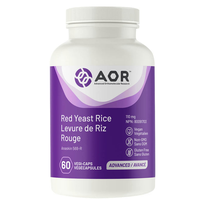 Bottle of AOR Red Yeast Rice 110 mg 60 Vegi-Caps