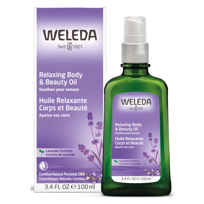 Pump Bottle of Weleda Relaxing Body & Beauty Oil - Lavender 3.4 Ounces