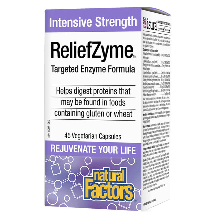 Box of ReliefZyme™ Intensive Strength 45 Vegetarian Capsules