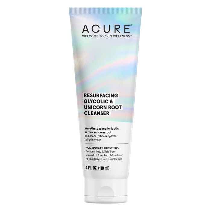 Bottle of Acure Resurfacing Glycolic + Unicorn Root Cleanser 4 Ounces