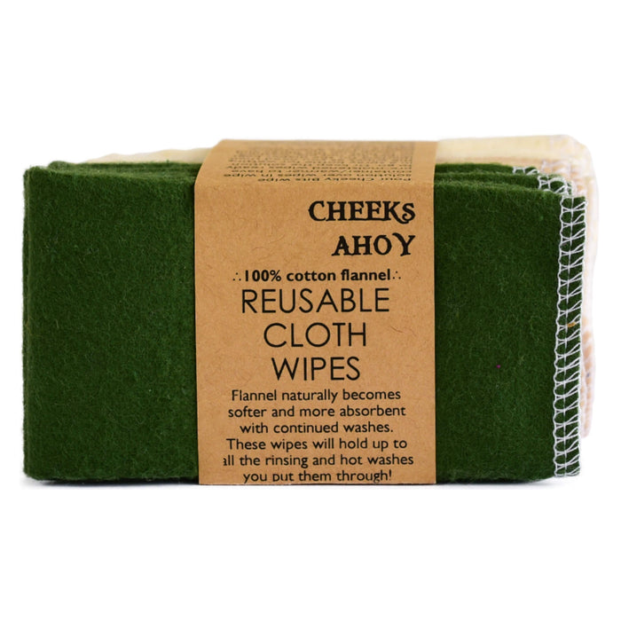 Cheeks Ahoy Reusable Cloth Wipes Warm Neutrals Olive 10-Pack