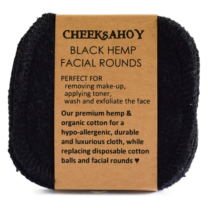 Cheeks Ahoy Reusable Facial Rounds, Premium Hemp & Cotton Black
