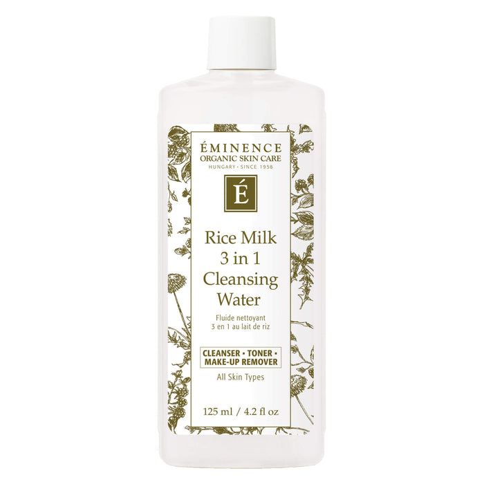 Bottle of Eminence Rice Milk 3 in 1 Cleansing Water 125 Milliliters