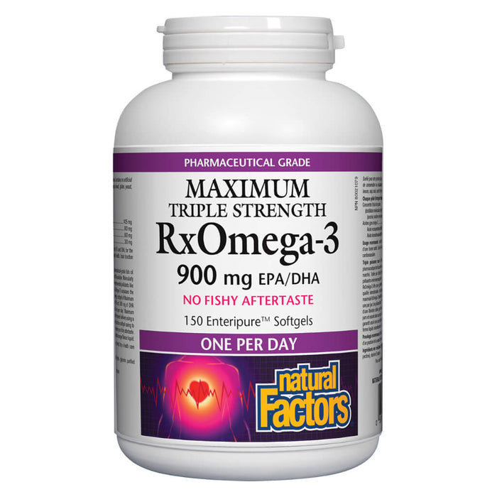 Bottle of Rx Omega-3 Maximum Triple Strength 900 mg 150 Enteripure Softgels