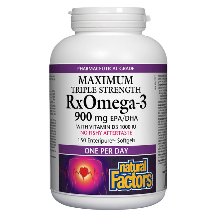 Bottle of Rx Omega-3 Maximum Triple Strength 900 mg w/ Vitamin D3 150 Enteripure Softgels