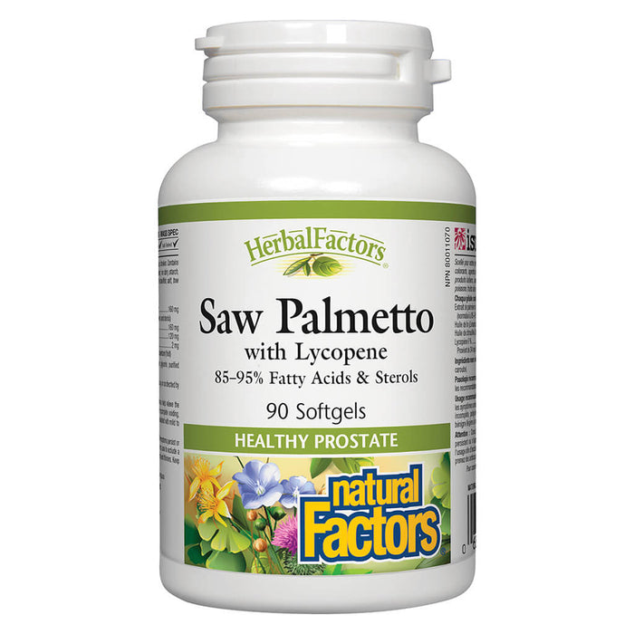 Bottle of Natural Factors Saw Palmetto with Lycopene 90 Softgels