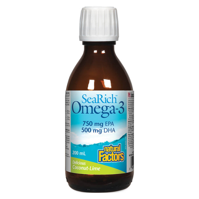 Bottle of SeaRich Omega-3 750 mg EPA / 500 mg DHA Coconut Lime 200 Milliliters