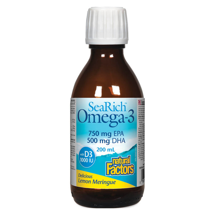 Bottle of SeaRich Omega-3 750 mg EPA / 500 mg DHA + Vitamin D3 1000 IU 200 Milliliters