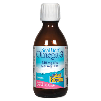 Bottle of SeaRich Omega-3 750 mg EPA / 500 mg DHA Grapefruit 200 Milliliters