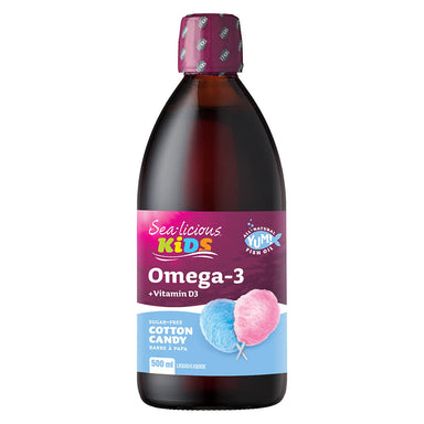 Bottle of Sea-licious Kids Omega-3 + Vitamin D Cotton Candy Flavour 500 Milliliters