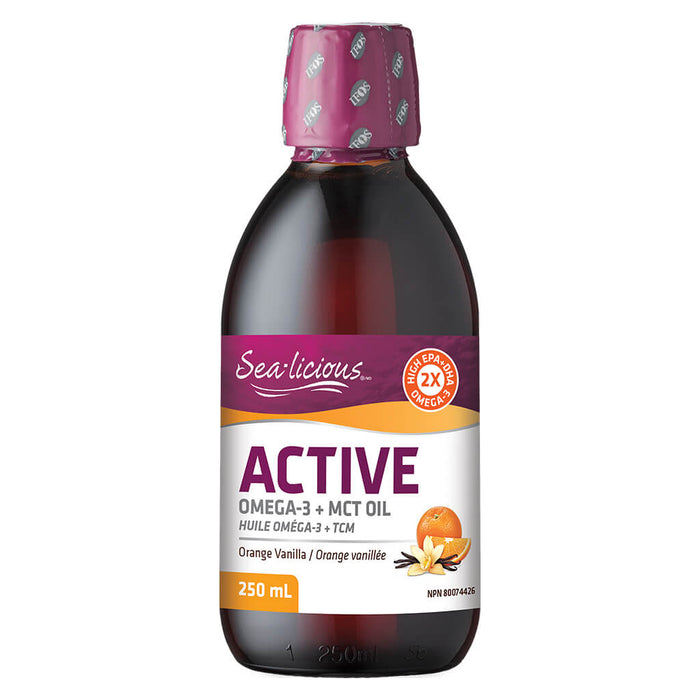 Bottle of Sea-licious Active Omega-3 + MCT Oil Orange Vanilla Flavour 250 Milliliters