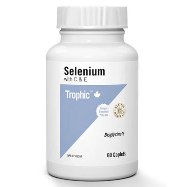 Bottle of Selenium Bisglycinate with C & E 60 Caplets