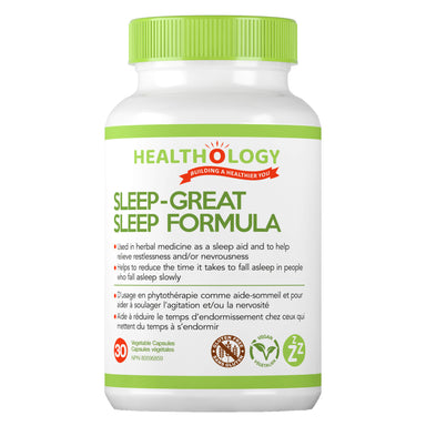 Bottle of Healthology Sleep-Great Sleep Fomrula 30 Vegetable Capsules