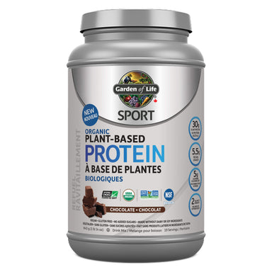 Container of Garden of Life SPORT Organic Plant-Based Protein Chocolate Flavour 840 Grams
