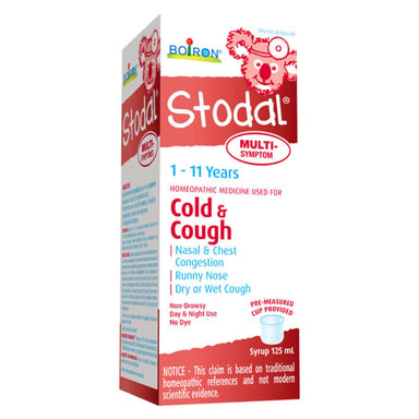 Box of Boiron Stodal Cold & Cough Multi-Symptom 1 - 11 Years 125 Milliliters | Optimum Health Vitamins, Canada