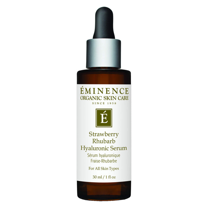 Dropper Bottle of Eminence Strawberry Rhubarb Hyaluronic Serum 30 Milliliters