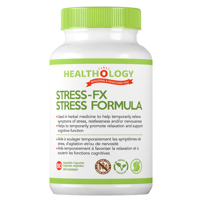 Bottle of Healthology Stress-FX Stress Formula 60 Vegetable Capsules