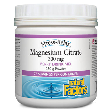 Container of Stress-Relax® Magnesium Citrate Powder Berry Drink Mix 250 Grams