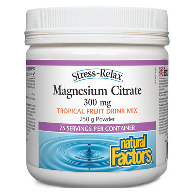 Container of Stress-Relax® Magnesium Citrate Powder Tropical Fruit Drink Mix 250 Grams