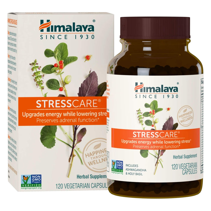 Bottle of Himalaya StressCare 120 Vegetarian Capsules with Box