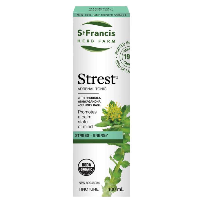 Box of St. Francis Herb Farm Strest Adrenal Tonic Tincture 100 Milliliters