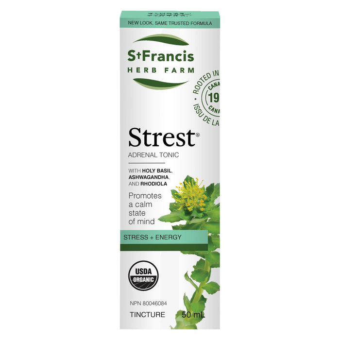 Box of St. Francis Herb Farm Strest Adrenal Tonic Tincture 50 Milliliters
