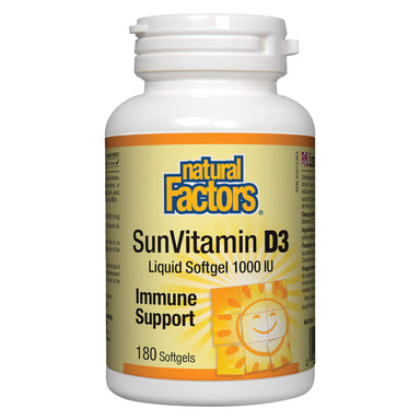 Natural Factors - SunVitamin D3 1000 IU 180 Softgels | Optimum Health Vitamins, Canada