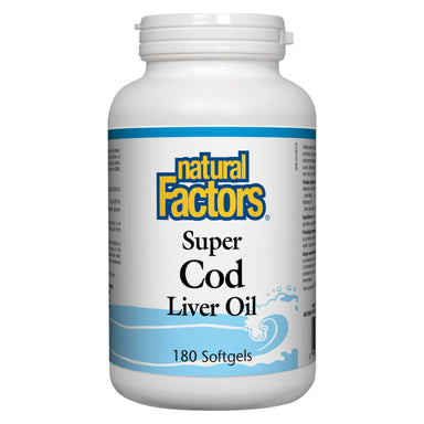 Bottle of Natural Factors Super Cod Liver Oil 180 Softgels