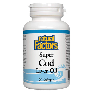 Bottle of Natural Factors Super Cod Liver Oil 90 Softgels
