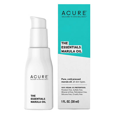 Pump Bottle and Box of Acure The Essentials Marula Oil 1 Fluid Ounce