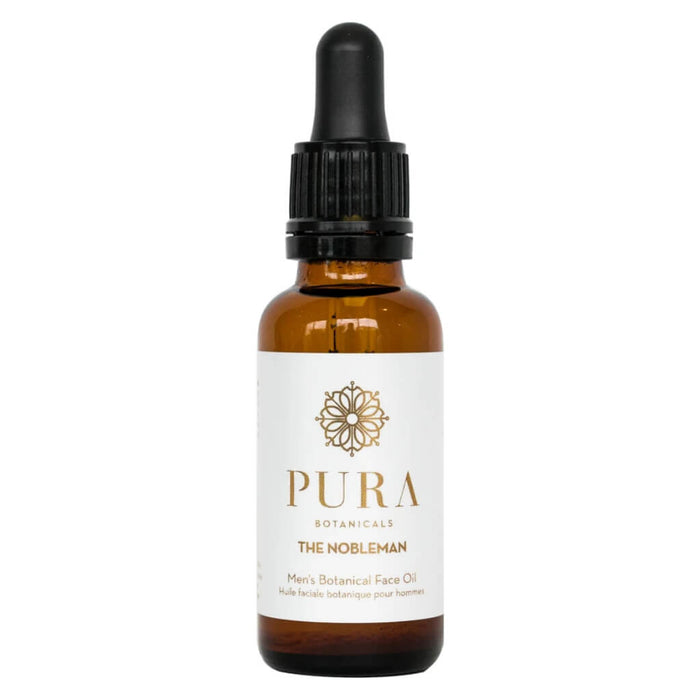 Dropper Bottle of Pura Botanicals The Nobleman Men's Botanical Face Oil 1 Ounce
