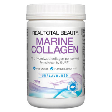 Container of Real Total Beauty Marine Collagen Unflavoured 240 Grams