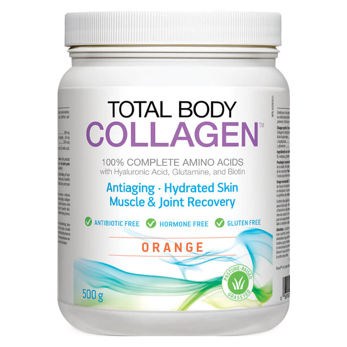 Container of Total Body Collagen Powder Orange Flavour 500 Grams