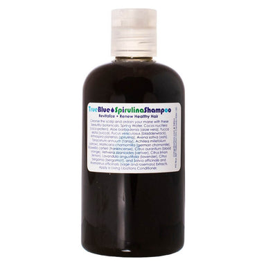 Bottle of Living Libations True Blue Spirulina Shampoo 240 Milliliters