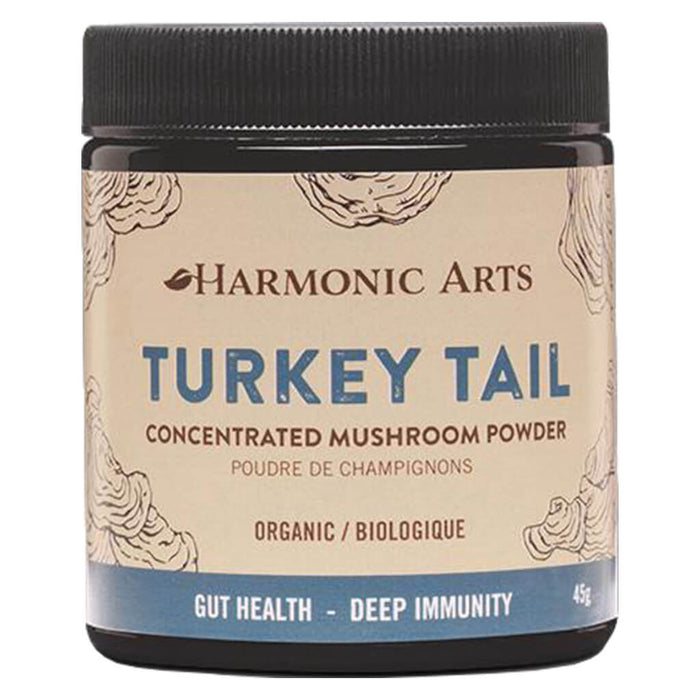 Jar of Harmonic Arts Turkey Tail Concentrated Mushroom Powder 45 Grams