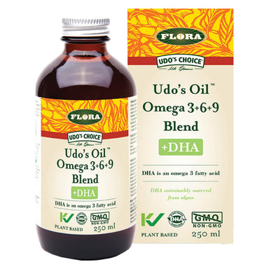 Bottle & Box of Udo's Oil Omega 3-6-9 Blend +DHA 250 Milliliters