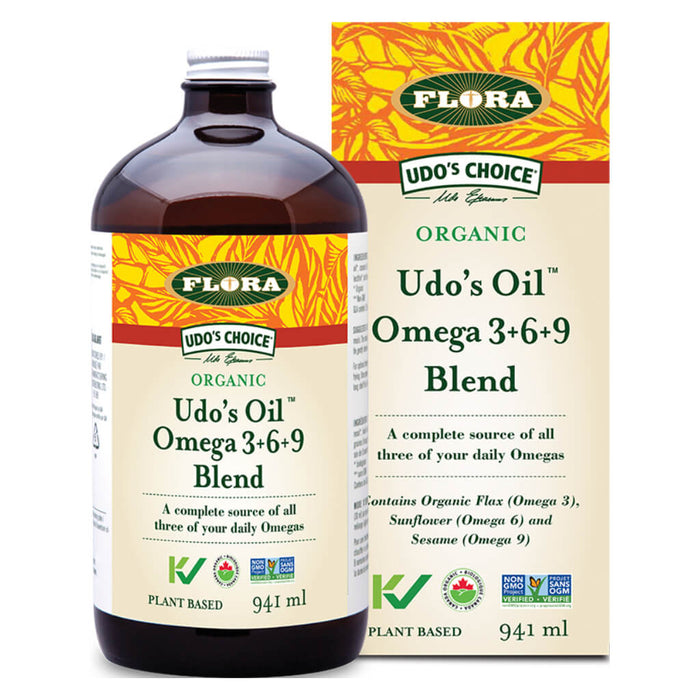 Bottle & Box of Udo's Oil™ 3·6·9 Blend Liquid 941 Milliliters