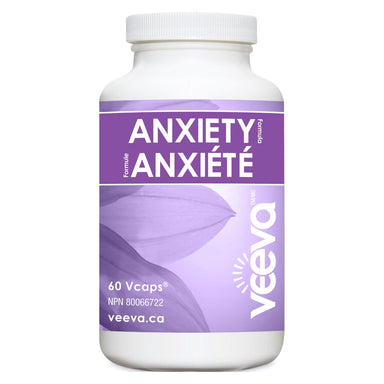 Bottle of Veeva Anxiety Formula 60 V-Capsules | Optimum Health Vitamins, Canada
