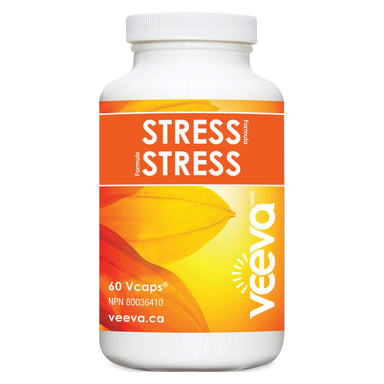 Bottle of Veevas Stress Formula 60 V-Capsules | Optimum Health Vitamins, Canada