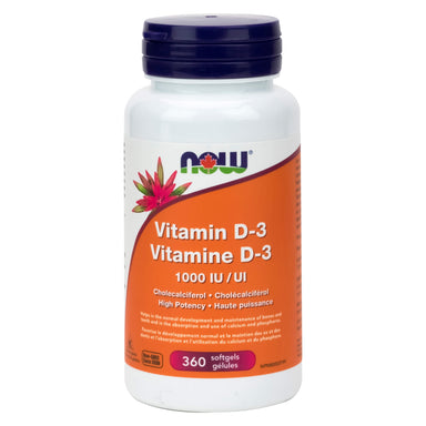 Bottle of NOW Foods Vitamin D-3 1000 IU 360 Softgels