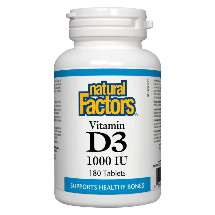 Bottle of Natural Factors Vitamin D3 1000 IU (BOGO) 180 Tablets