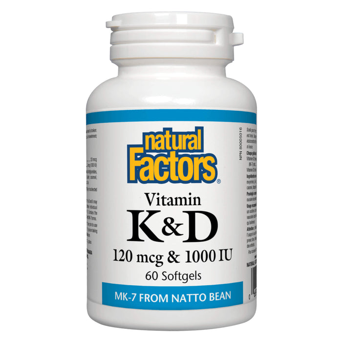 Bottle of Natural Factors Vitamin K 120 mcg & Vitamin D 1000 IU 30 Softgels